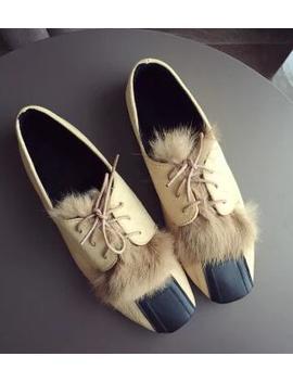 Espadrilles Shoes Woman Lace Up Flats Fur Designer Brand Moccasins Square Toe Flats Mixed Color Shoes Fur Rabbit Hair Espadrille by Upscale Designer Store