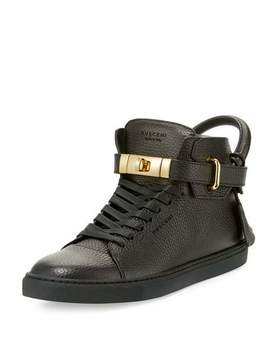 100mm High Top Leather Sneaker With Padlock, Black by Buscemi