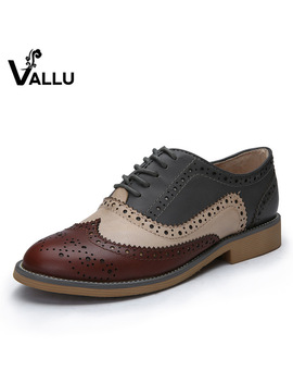 2016 Genuine Leather Shoes Women Brogues Oxfords Flat Heels Round Toe Handmade Women Casual Shoes Plus Size 42 by Vallu Store