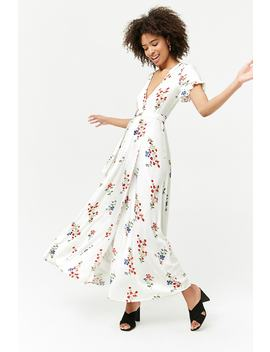 Floral Surplice Maxi Wrap Dress by Forever 21