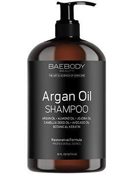 Baebody Moroccan Argan Oil Shampoo 16 Oz   Sulfate Free   Volumizing & Moisturizing, Gentle On Curly & Color Treated Hair, For Men & Women.... by Baebody