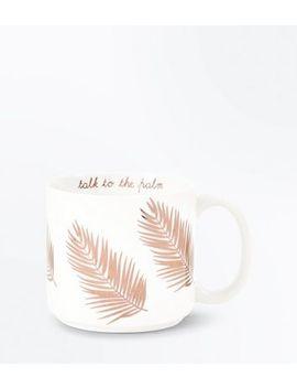 White Leaf Print Mug by New Look