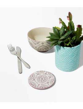 Pale Pink Tile Print Bowl by New Look