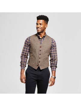 Men's Standard Fit Herringbone Vest   Goodfellow & Co™ Brown by Goodfellow & Co™