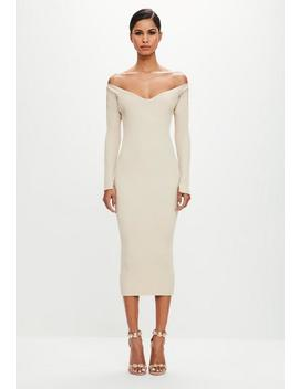 Peace + Love Sand Off Shoulder Ribbed Midi Dress by Missguided
