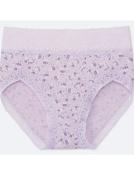 Women Flower Print High Rise Briefs by Uniqlo