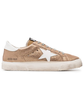 Rose Gold Glitter May Leather Sneakers by Golden Goose Deluxe Brand
