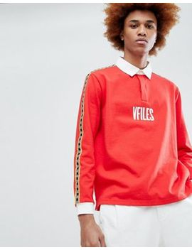 Vfiles Logo Rugby Shirt In Red With Taping by Vfiles