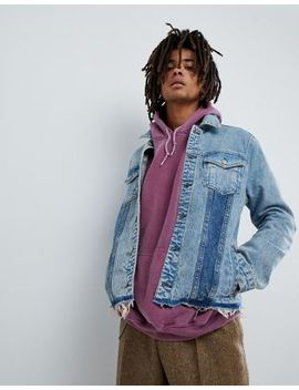 Mennace Denim Jacket In Midwash Blue With Contrast Panels by Mennace