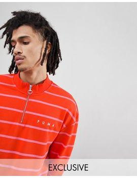 Puma Striped Half Zip Sweatshirt In Red Exclusive To Asos by Puma