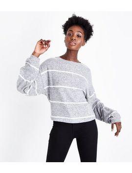 Grey Stripe Fine Knit Balloon Sleeve Jumper by New Look