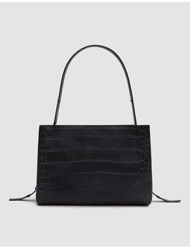 Small Shopper Bag In Black Croc by Need Supply Co.