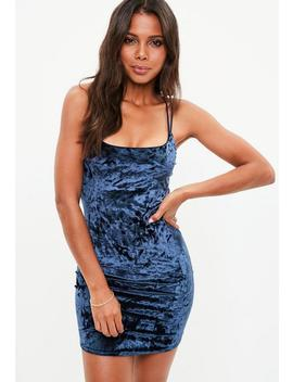 Blue Cross Strap Velvet Bodycon Dress by Missguided