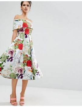 Asos Premium Off The Shoulder Bardot Midi Prom Dress In Garden Floral by Asos Collection