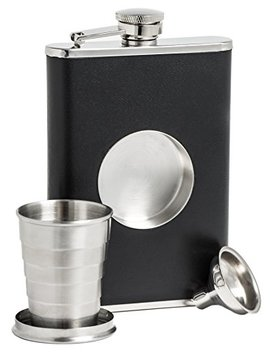 Shot Flask   Stainless Steel 8 Oz Hip Flask, Built In Collapsible 2 Oz. Shot Glass & Flask Funnel   Everything You Need To Pour Shots On The Go   Bar Me Brand by Bar Me