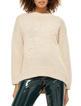 Tonal Embroidered Sweater by Topshop