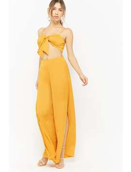 Satin Side Slit Palazzo Pants by Forever 21