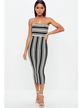 Monochrome Stripe Bandeau Midi Dress by Missguided