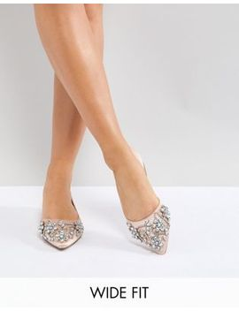 Asos Violet Wide Fit Embellished Ballet Flats by Asos Collection