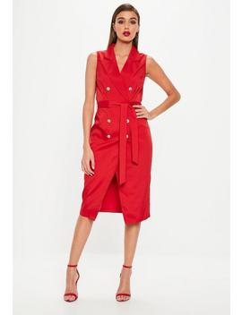 Red Sleeveless Belted Midi Blazer Dress by Missguided