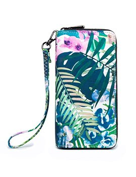 Loveme Women Green Flower Double Zipper Wallets Hangbag Bank Card Cash Package (Green Flower28) by Love Me