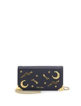 Cahier Convertible Leather Crossbody by Prada