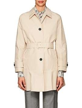 Peplum Hem Tech Cotton Coat by Prada