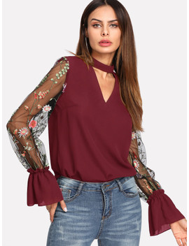 Embroidered Mesh Sleeve Choker Neck Blouse by Shein