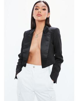 Black Cropped Satin Lapel Tuxedo Jacket by Missguided