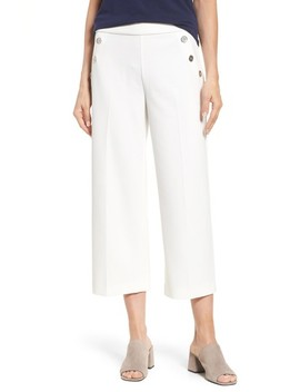 Crop Ponte Knit Sailor Pants by Chaus