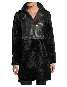 Shearling & Leather Moto Coat by Nour Hammour