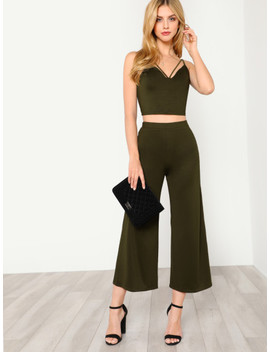 Strappy Neck Cami Top & Pants Co Ord by Shein