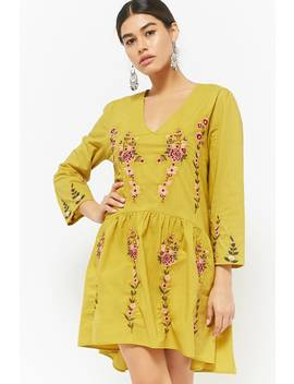 Floral Embroidered High Low Dress by F21 Contemporary