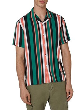 Miami Stripe Revere Collar Shirt by Topman