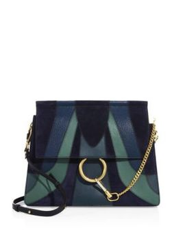 Medium Faye Patchwork Leather & Suede Shoulder Bag by Chloé