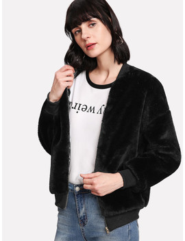 Zipper Up Front Fuzzy Jacket by Shein
