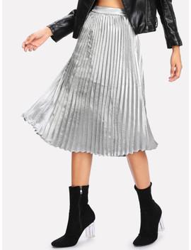 Pleated Metallic Skirt by Shein