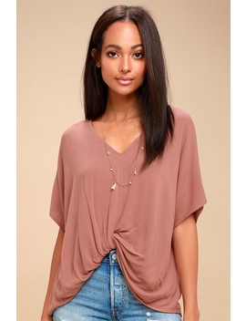 Day Maker Mauve Knotted Tee by Lulu's