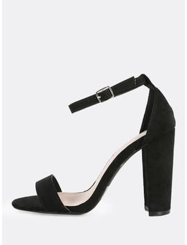 Single Band Ankle Strap Heels Black by Sheinside