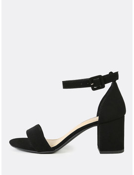 Single Band Ankle Strap Chunky Low Heels Black by Sheinside