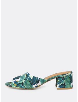 Tropical Print Peep Toe Mule Heel Green by Sheinside