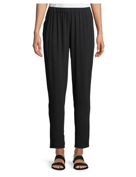 Silk Georgette Crepe Slouchy Ankle Pants by Eileen Fisher