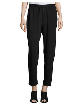 Silk Georgette Crepe Slouchy Ankle Pants, Petite by Neiman Marcus