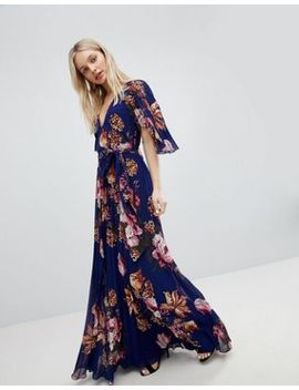 Asos Pleated Maxi Dress With Flutter Sleeve In Floral Print by Asos Collection