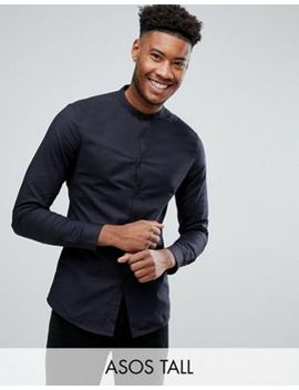 Asos Tall Smart Skinny Oxford In Black With Grandad Collar by Asos