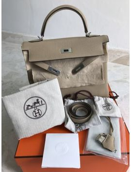 Authentic Hermes Kelly 32 Trench Togo Sillver Hwr Brand New In Box by Hermes
