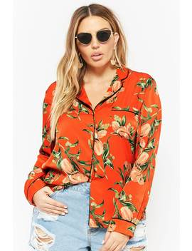 Plus Size Satin Floral Print Shirt by Forever 21