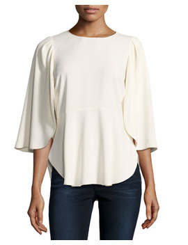 Flounce Sleeve Satin Top W/ Waist Seam by Neiman Marcus