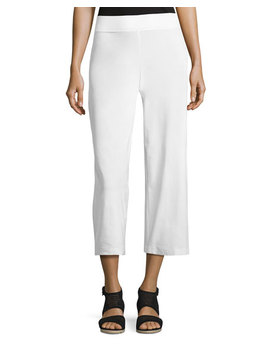 Wide Leg Washable Crepe Cropped Pants by Neiman Marcus
