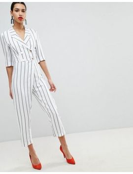River Island Stripe Double Breasted Jumpsuit by River Island